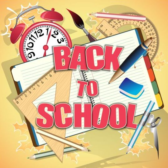 Back to school background with notebook vector 01