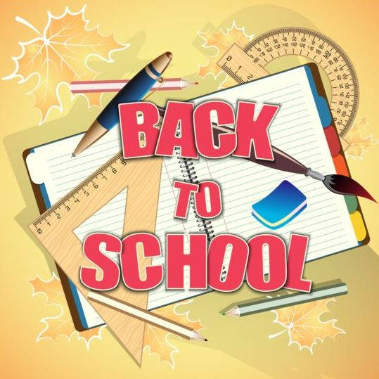 Back to school background with notebook vector 05