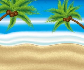 Beaches and palm trees with sea background vector 01