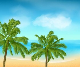 Beaches and palm trees with sea background vector 03