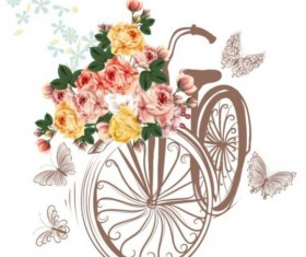 Beautiful bicycles with realistic roses wedding card vector 02