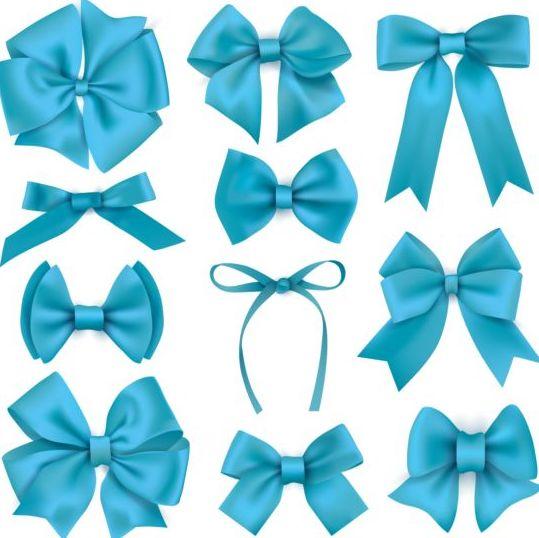 Beautiful blue bow design vector set 03