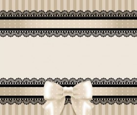Beige cards with black lace and bow vector