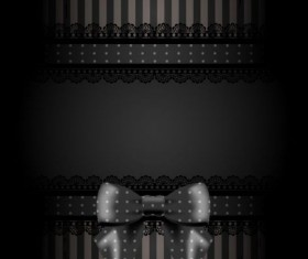 Black card with laces and bow vectors 01