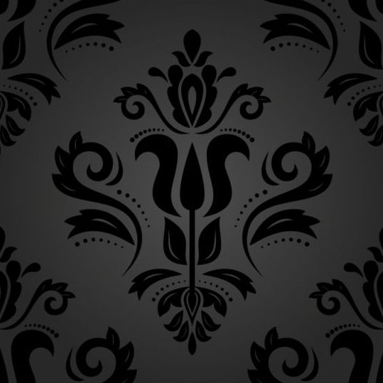 Black floral decorative pattern vector material 03