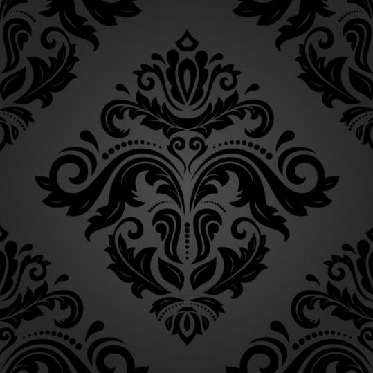 Black floral decorative pattern vector material 04