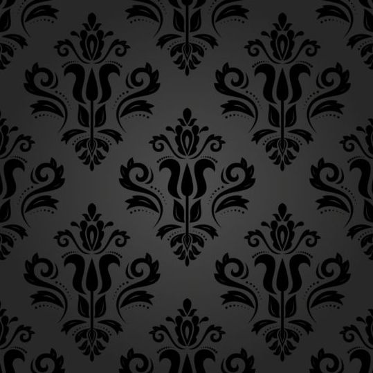 Black floral decorative pattern vector material 05