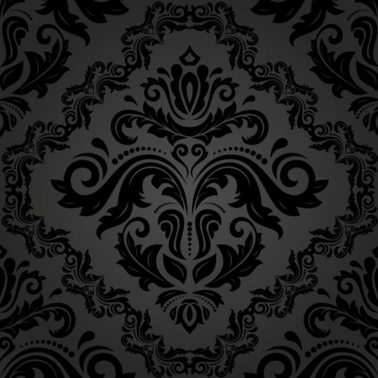 Black floral decorative pattern vector material 06