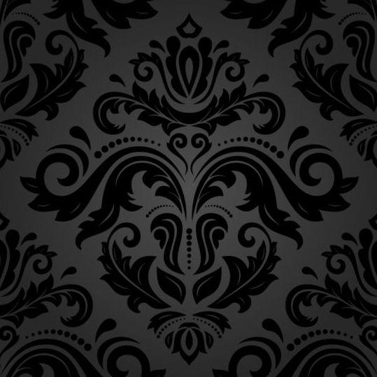 Black floral decorative pattern vector material 08