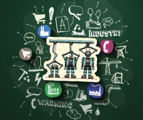 Blackboard background with industry elements vector