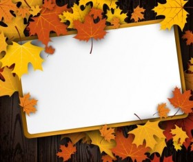 Blank paper and autumn leaves background vector