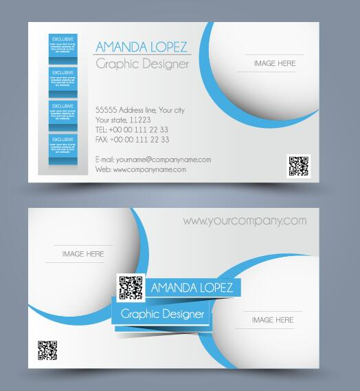 Blue abstract business cards vector set 01