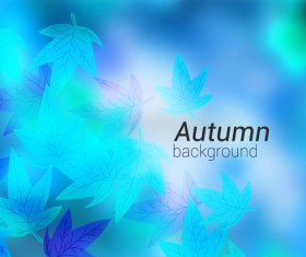 Blue autumn leaves background vector