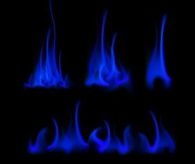 Blue fire flame vector set 02