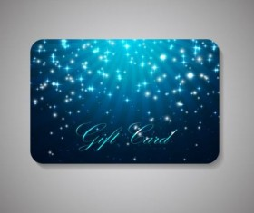 Blue gift card with shining star vector