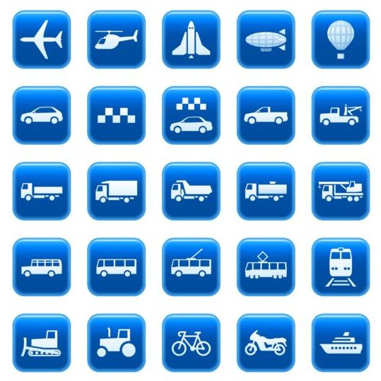 Blue textured transportation icons vector