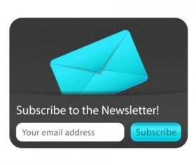 Blue with black subscribe newsletter vector