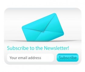Blue with white subscribe newsletter vector