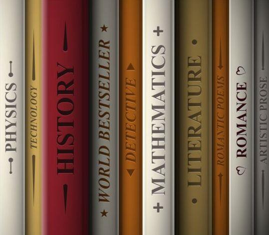 Bookshelf and books vector 01