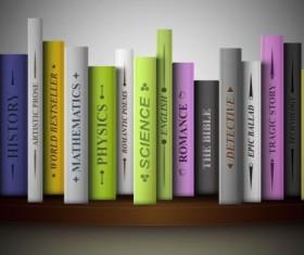 Bookshelf and books vector 02