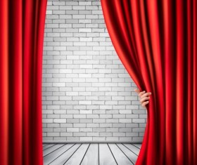 Brick wall background with red curtain and wood floor vector
