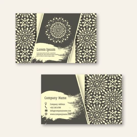 Business cards with mandala pattern vectors 02