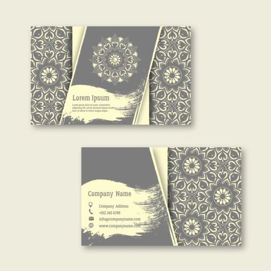 Business cards with mandala pattern vectors 06