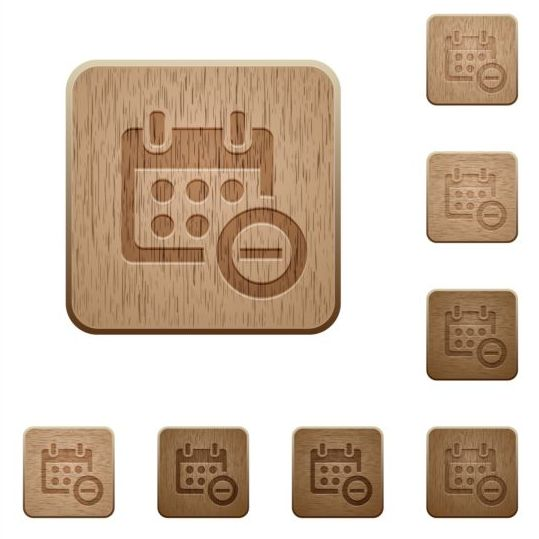 Calendar delete wooden icons
