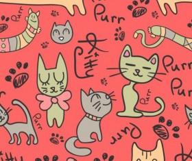 Cartoon cat seamless pattern vector