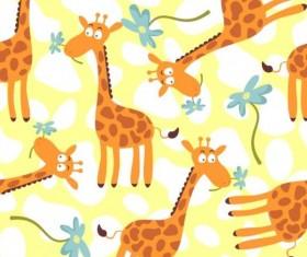 Cartoon giraffe seamless pattern vector