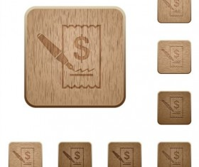 Cheque signing wooden icons