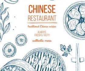 Chinese food menu hand drawn vector