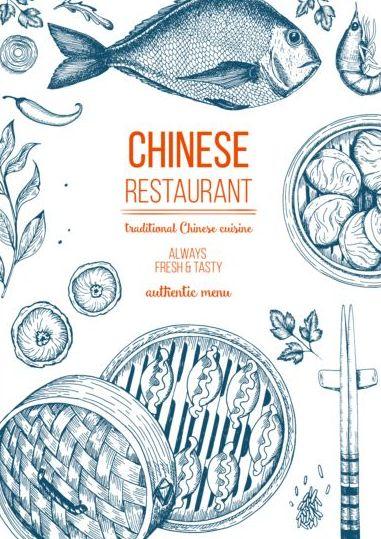 Chinese food menu hand drawn vector free download