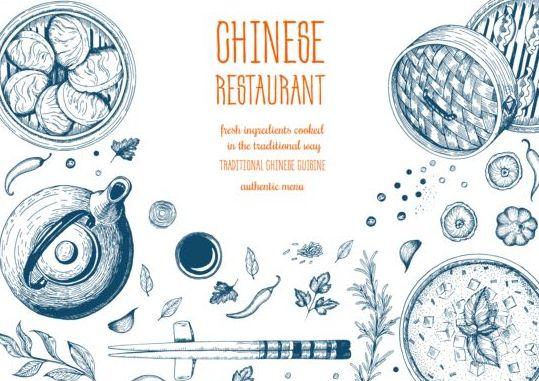 Chinese restaurant menu hand drawn vector free download