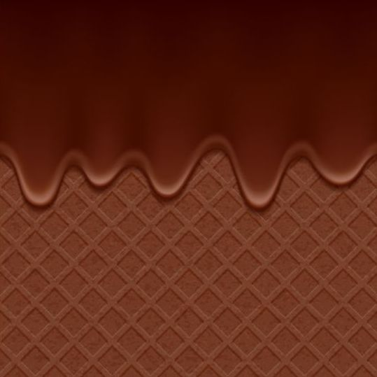 chocolate drop with waffles background vector 03