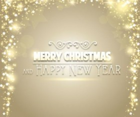 Christmas background with gold light stars vector