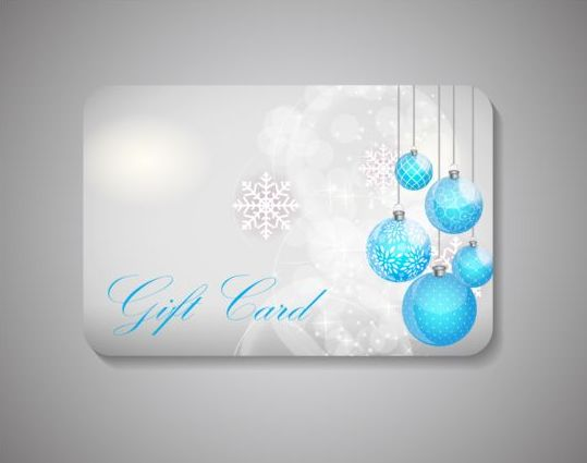 Christmas gift card and bauble with snowflake vector