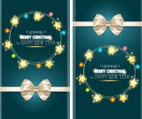 Christmas greeting card with bow and star decor vector