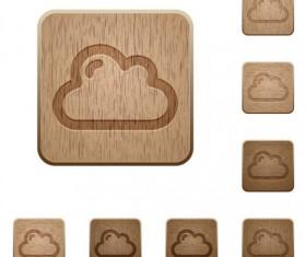 Cloud wooden icons set