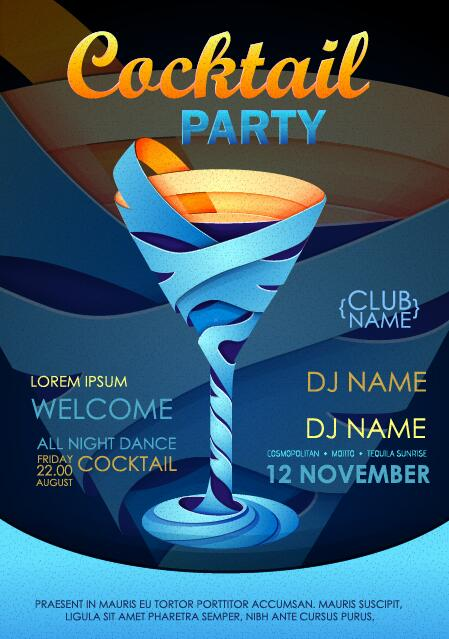 Cocktail party flyer vector template 09