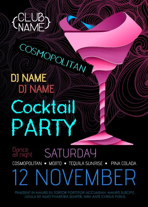 Cocktail party flyer vector template 13 Vector Cover free download – Free Cocktail Party Invitation Templates