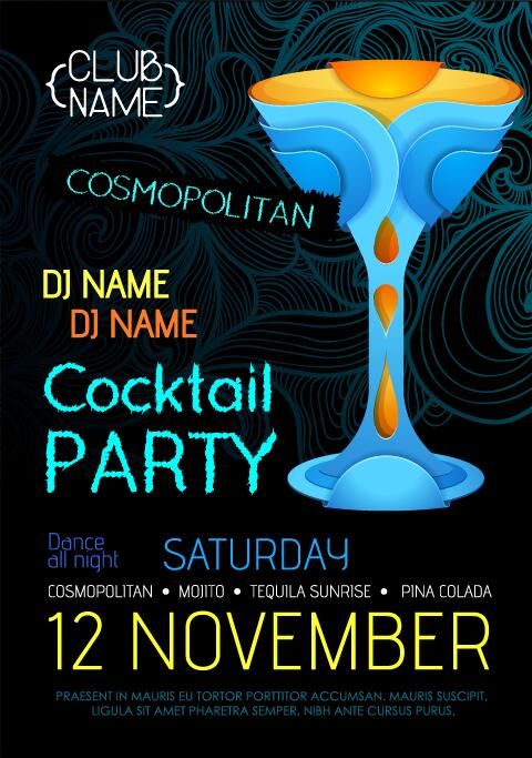 Cocktail party flyer vector template 21