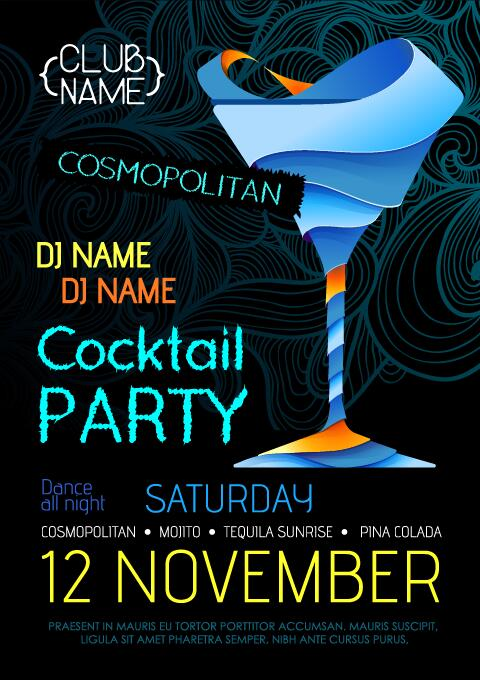 Cocktail party flyer vector template 22