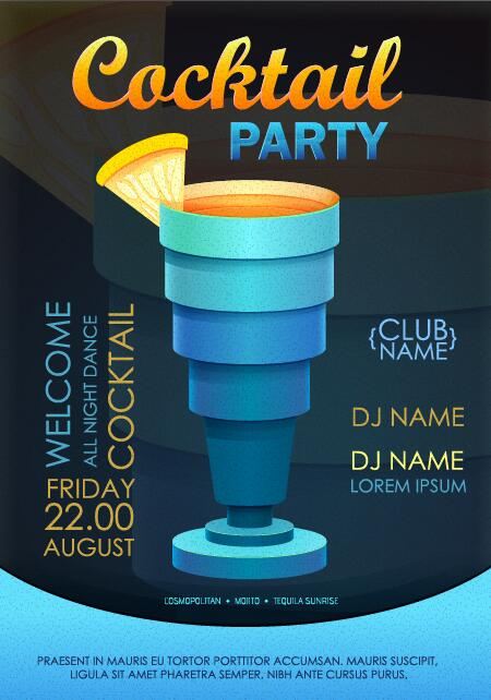 Cocktail party flyer vector template 25