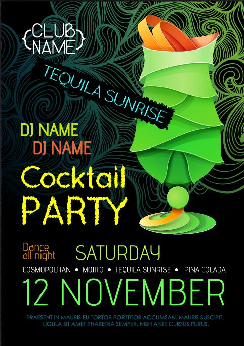 Cocktail party flyer vector template 29