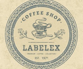 Coffee shop round label vectors material