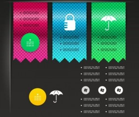 Color bookmarks with Infographics vector 01