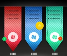 Color bookmarks with Infographics vector 04
