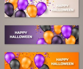Colored balloon with halloween banners vector set