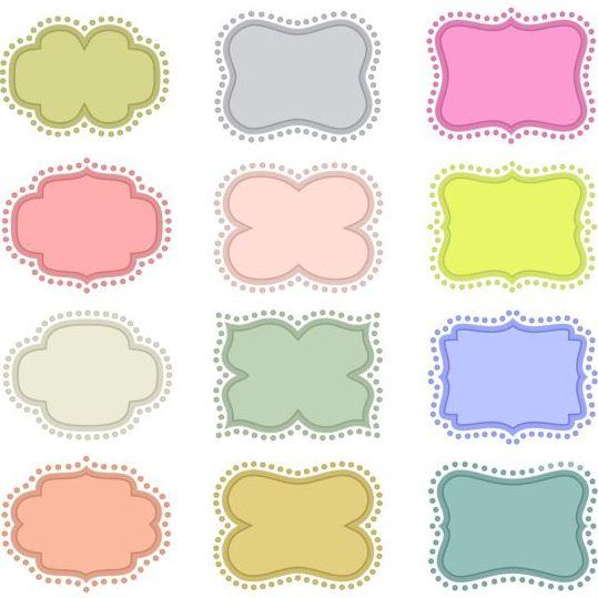 Colored retro frames set vector free download